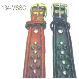 Spicked Leather Dog Collars Round Edge Size 1-34