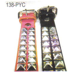 Pyramid Studded Leather Dog Collar 1 3/8