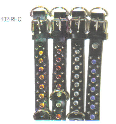 Rhine Stone Deluxe Leather Dog Collar 1