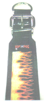 Flame Embroidered Leather Dog Collar 1 1/2