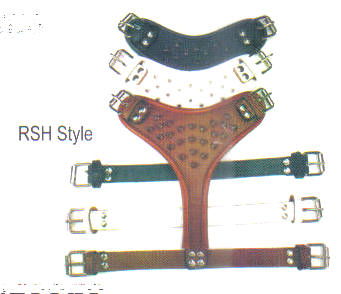 Round Edge 1- Tone Spiked Leather Harnesses By Top Dog. This picture shows 3 harnesses, one black with black edge, one brown with brown edge and one white with a white edge.