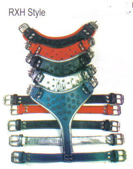 Round Edge 2- Tone Spicked Leather Harnesses By Top Dog